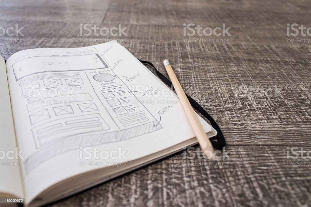 Web layout sketch paper stock photo