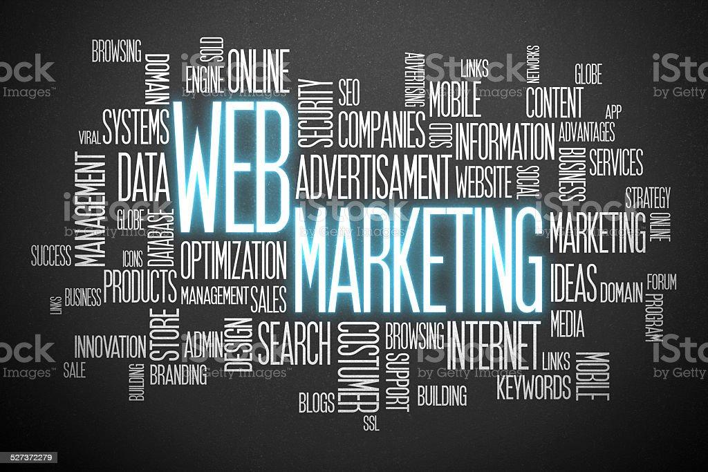 Web marketing word cloud stock photo