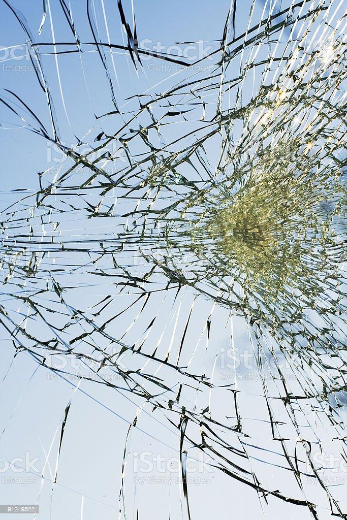 web of splits on the triplex windscreen royalty-free stock photo