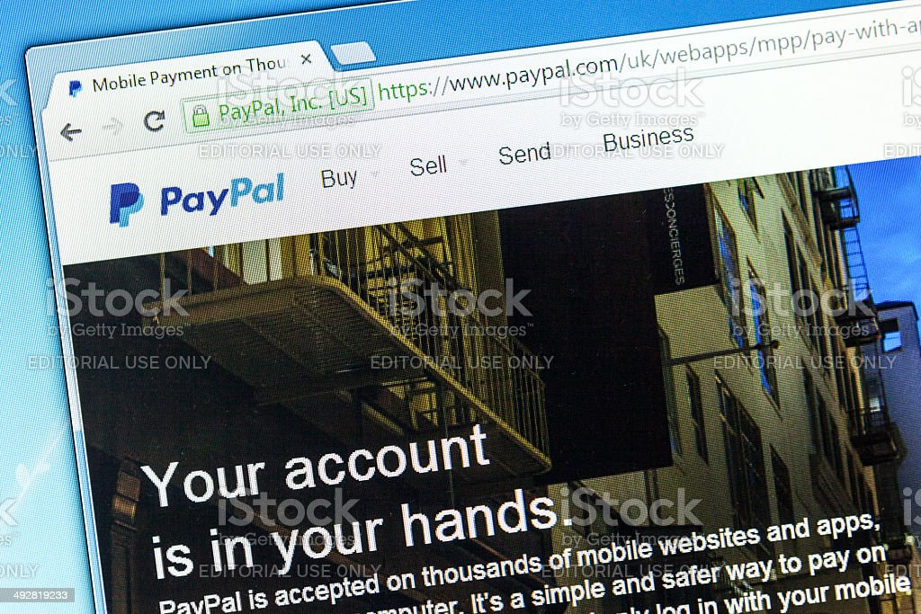Web page of Paypal, a money transfer system stock photo