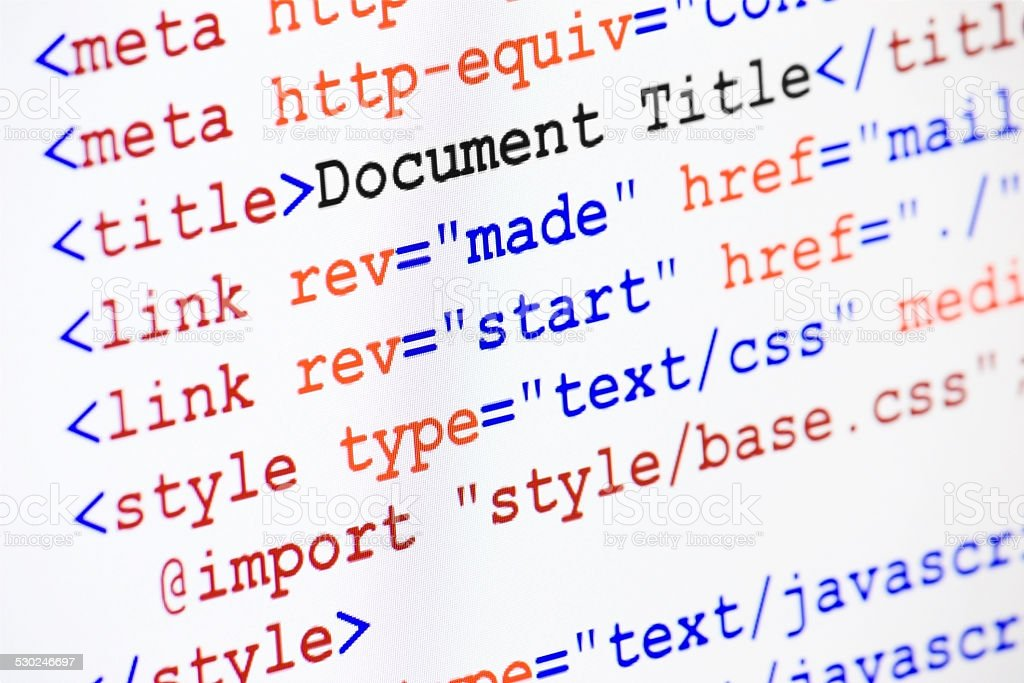 HTML web page source code with document title stock photo