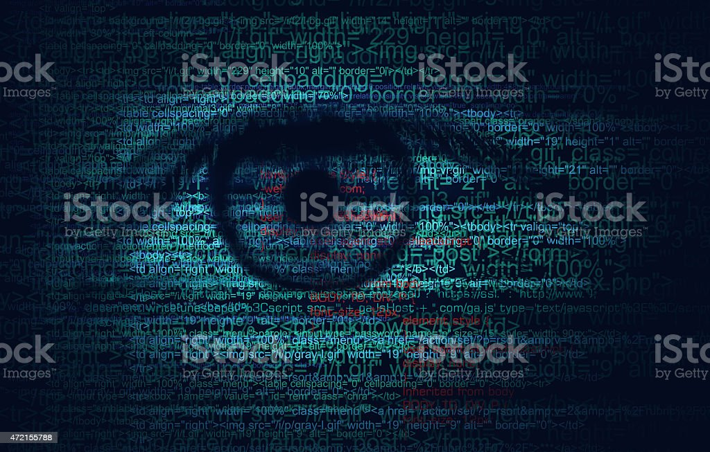 Web Program Code with Human Eye -  Concept Background stock photo