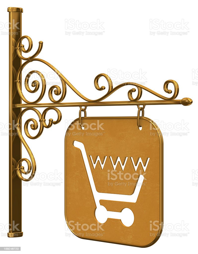 Web Shop Hanging Sign Sideways royalty-free stock photo
