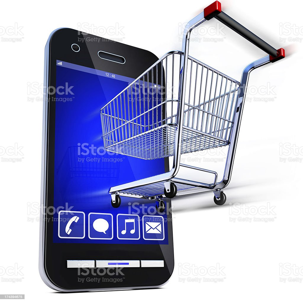 Web shopping online store with mobile stock photo
