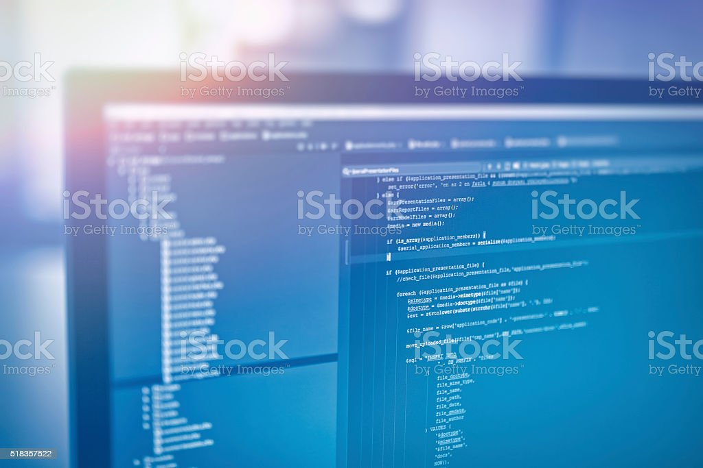 web site codes on computer monitor stock photo