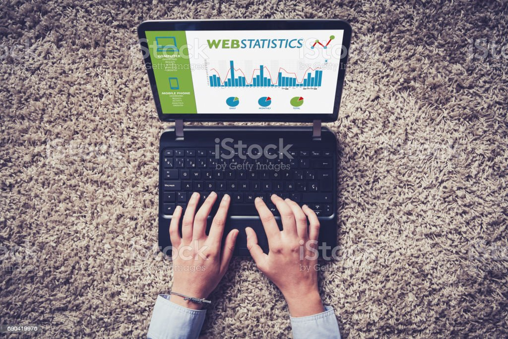 Web statistics consulting in a laptop computer. stock photo