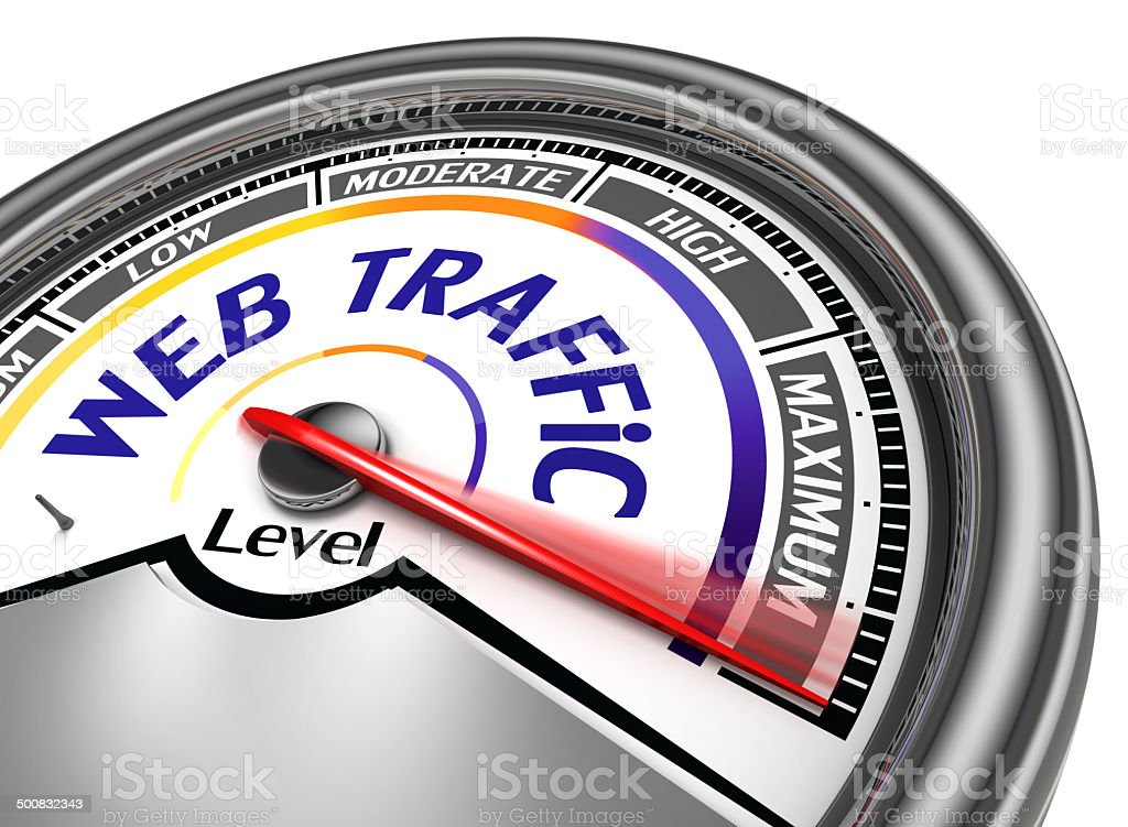 web traffic conceptual meter stock photo