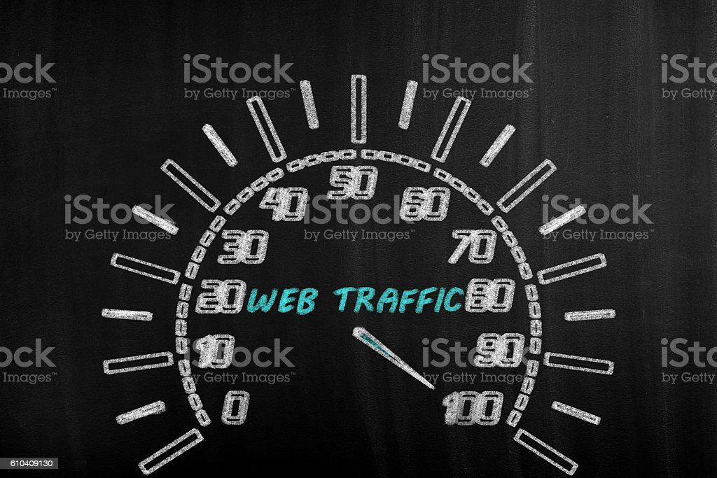 Web traffic speedometer stock photo