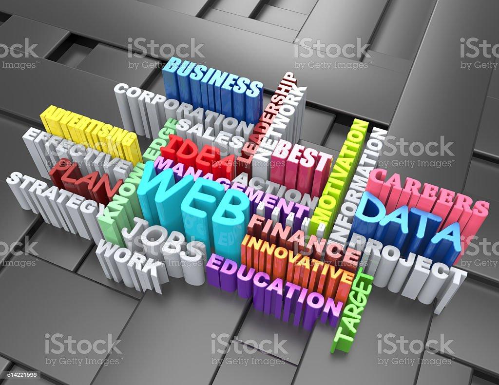 Web,Advertising,Innovative,Data,Careers 3d crossword concept stock photo