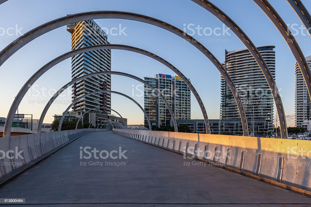 Webb bridge and residential high rise, Docklands, Melbourne stock photo