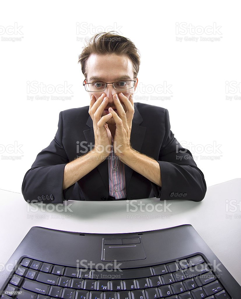 Webcam View of Businessman Receiving Bad News on Computer royalty-free stock photo