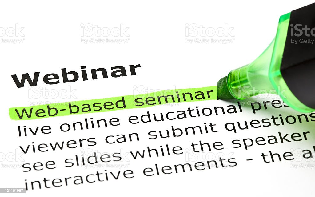 Webinar definition highlighted in green royalty-free stock photo