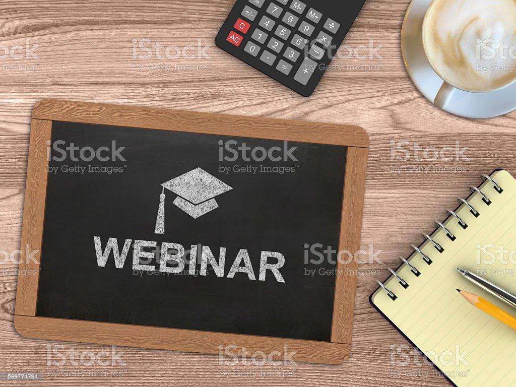 Webinar e-learning blackboard desktop concept stock photo