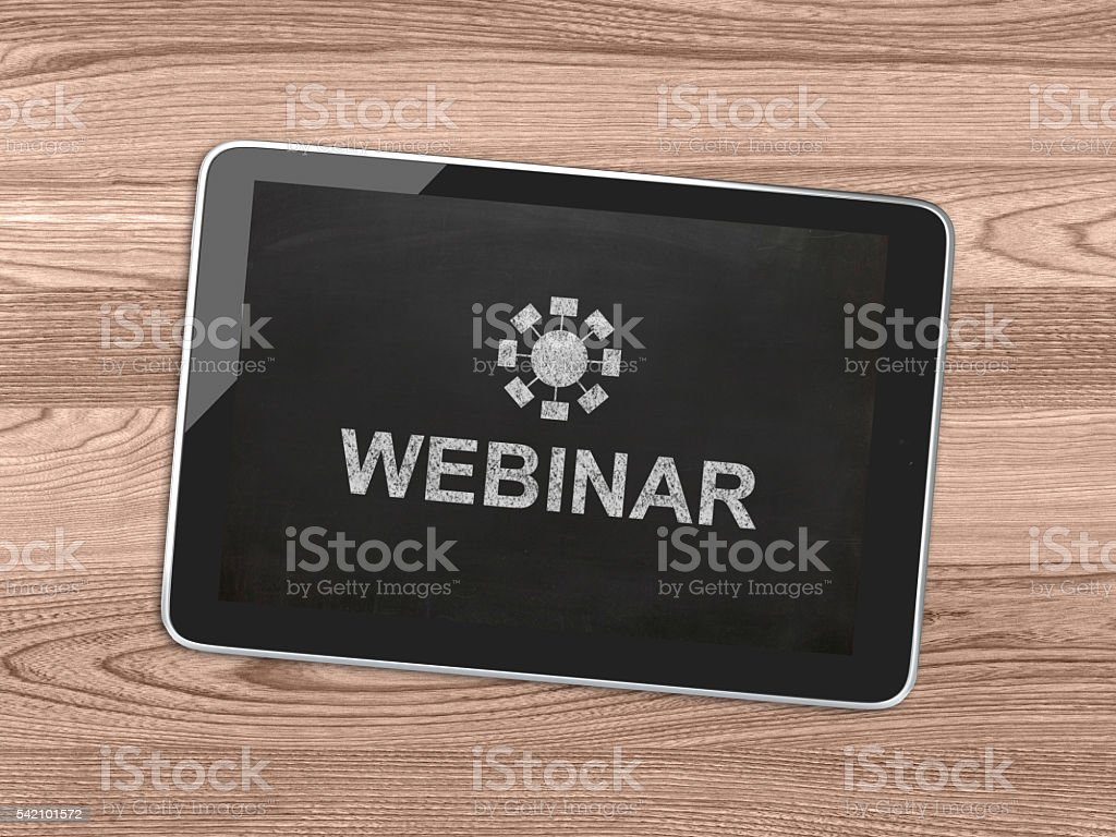 Webinar e-learning tablet desktop top view blackboard concept stock photo