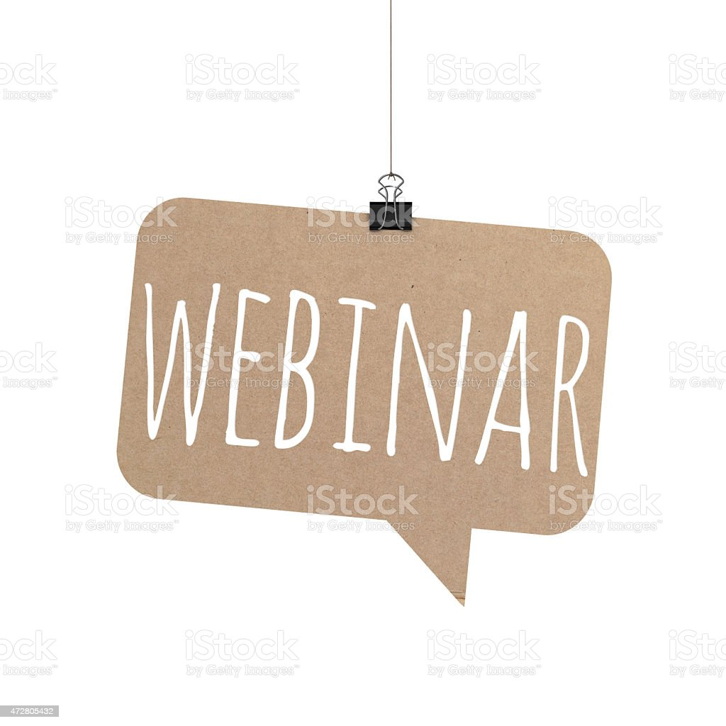 Webinar speech bubble hanging on a string stock photo