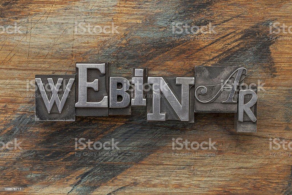 webinar word in metal type royalty-free stock photo