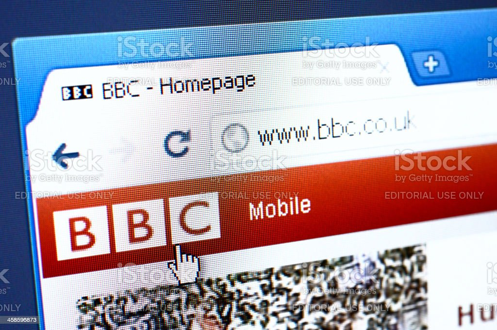 BBC webpage on the browser royalty-free stock photo