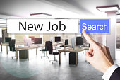 websearch new job blue search button office 3D Illustration