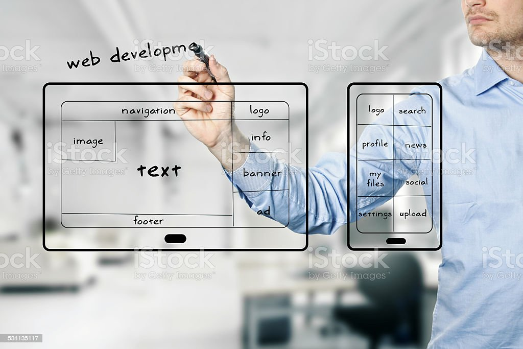 website and mobile app development stock photo