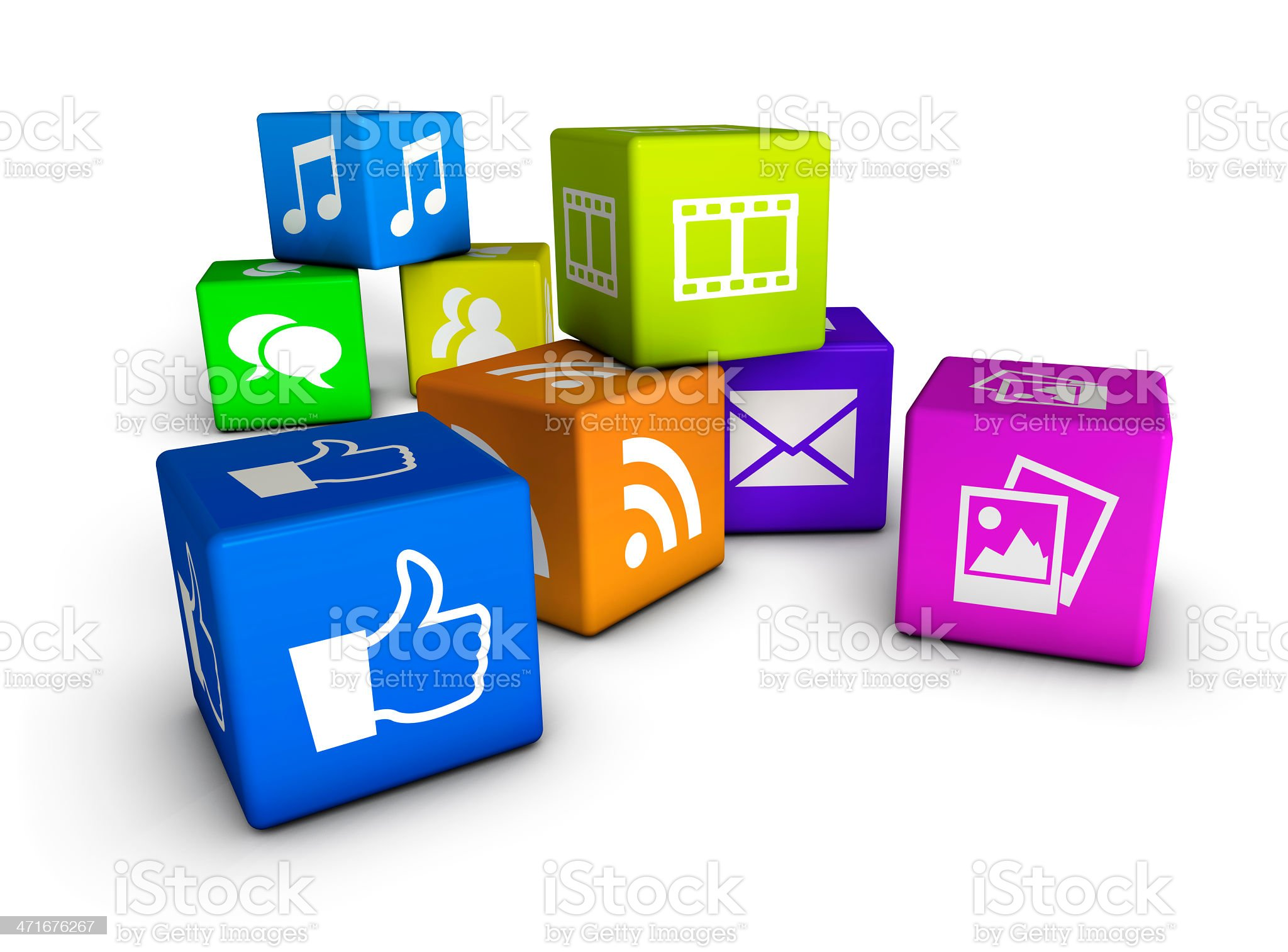 Website And Social Media Cubes royalty-free stock photo