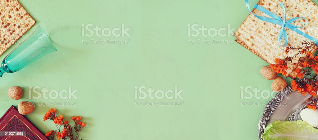 website banner background of Pesah celebration concept (jewish Passover holiday) stock photo