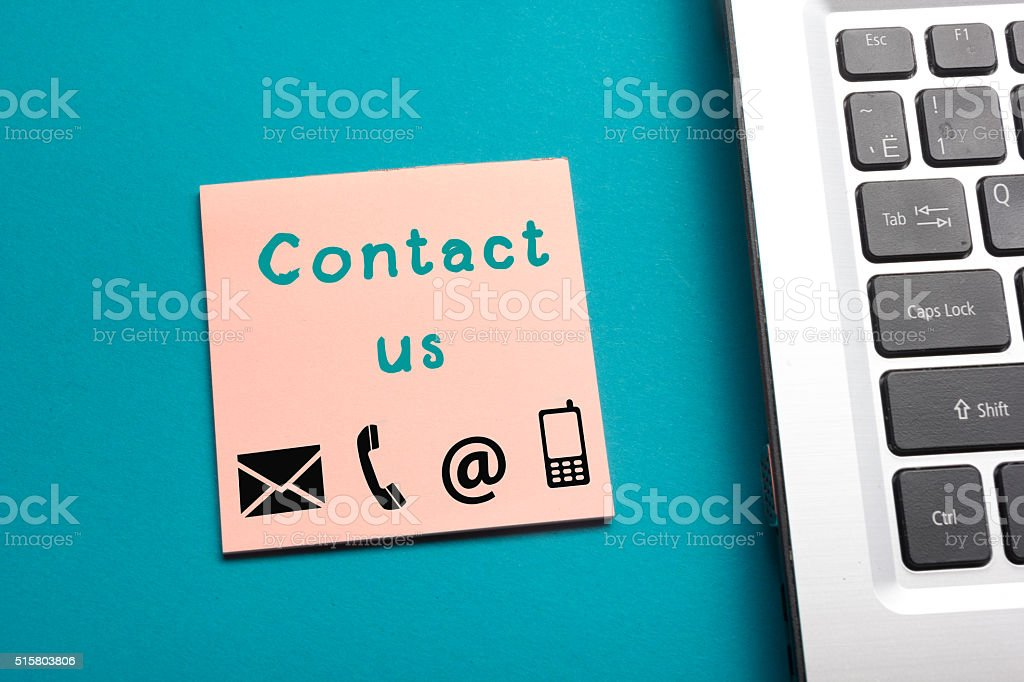 Website, Internet contact us page concept with laptop and reminder stock photo