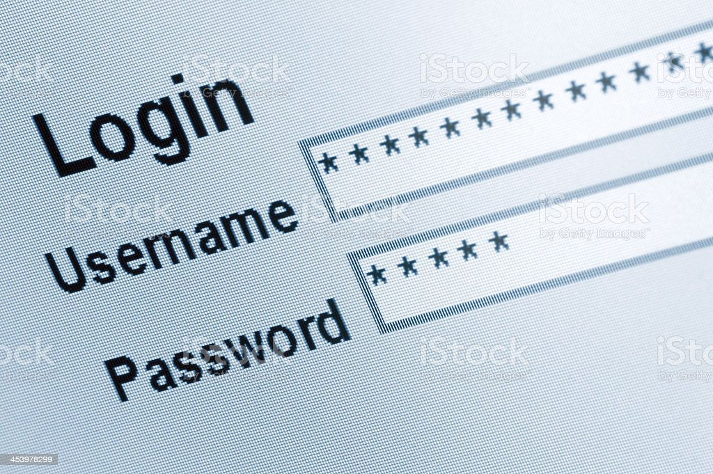 Website Login Screen Macro Capture Pale Blue stock photo