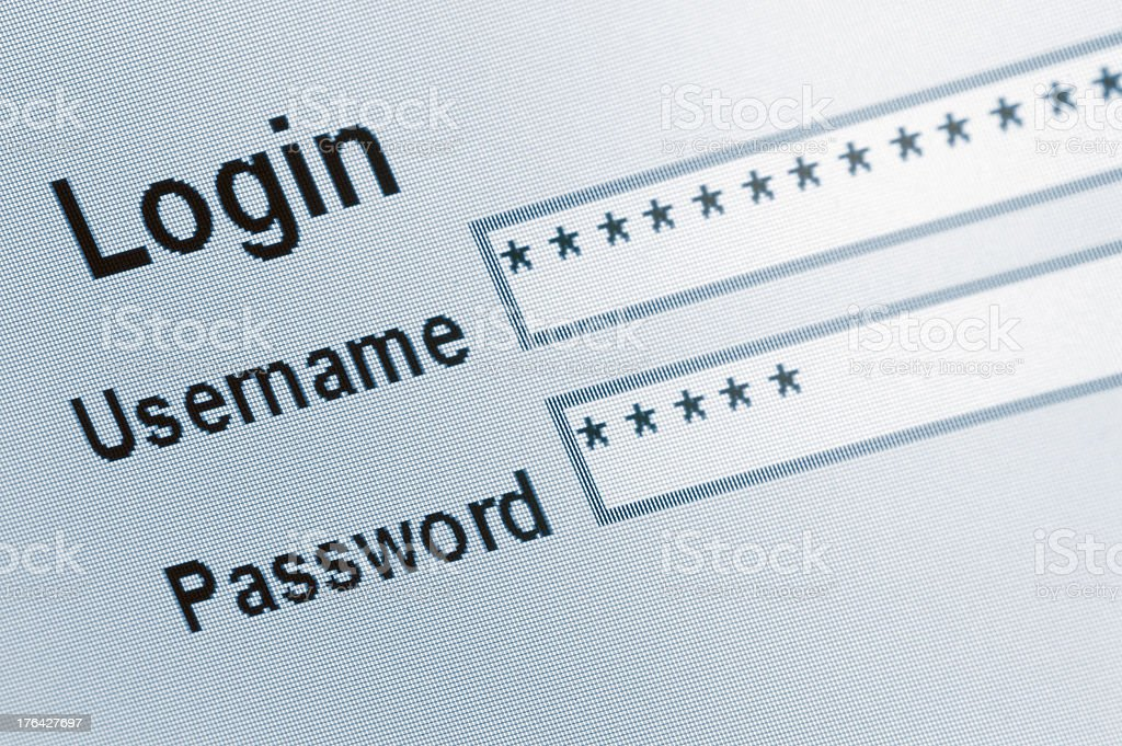 Website Login Screen Macro Capture, password username internet web security stock photo