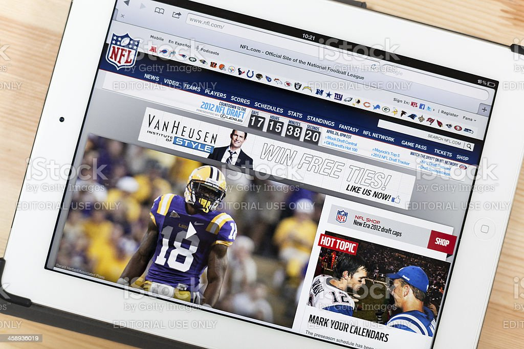 NFL Website on iPad royalty-free stock photo