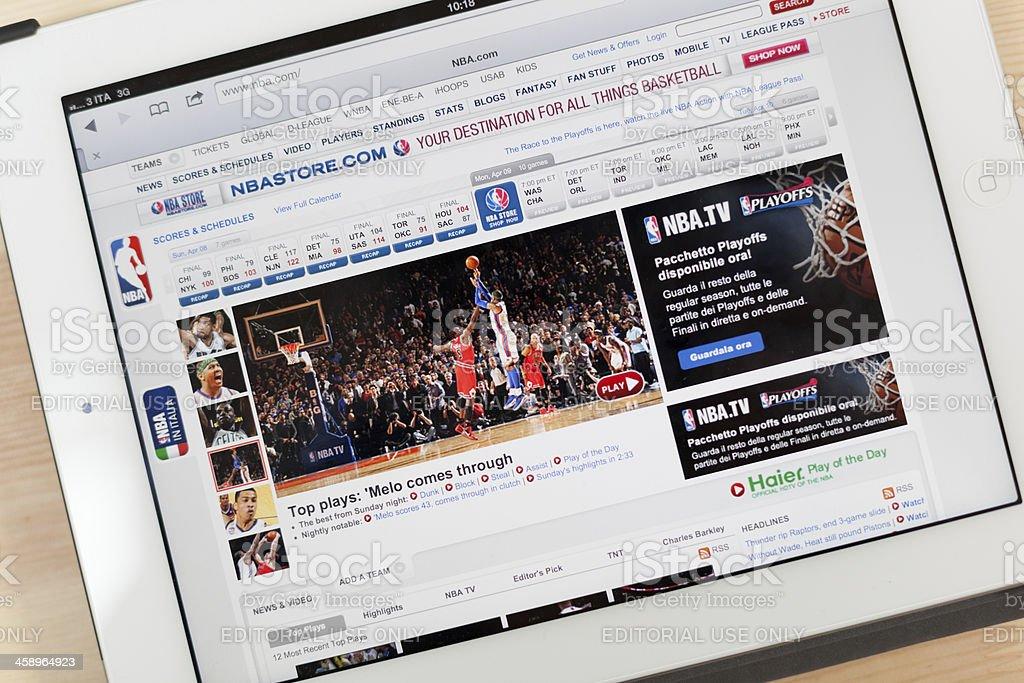 NBA Website on iPad royalty-free stock photo
