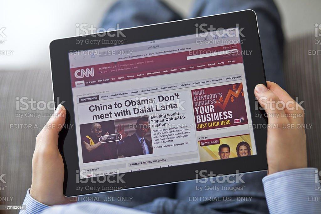 CNN website on iPad stock photo