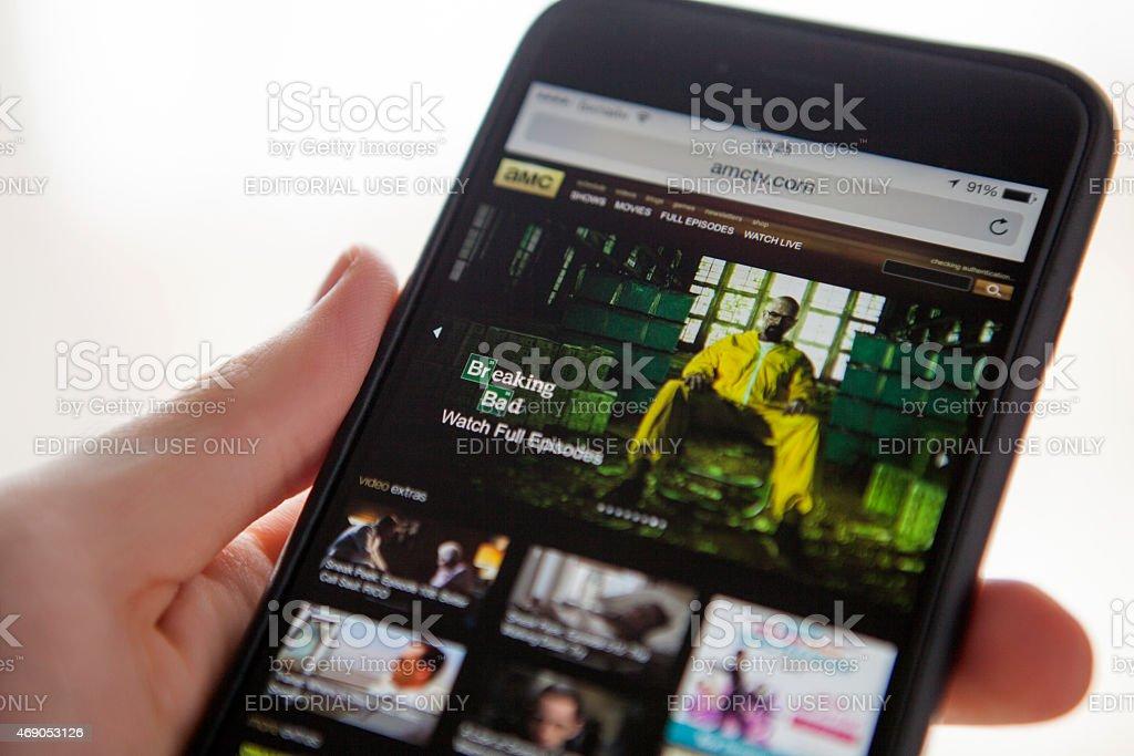 AMC website on iPhone 6 Plus stock photo