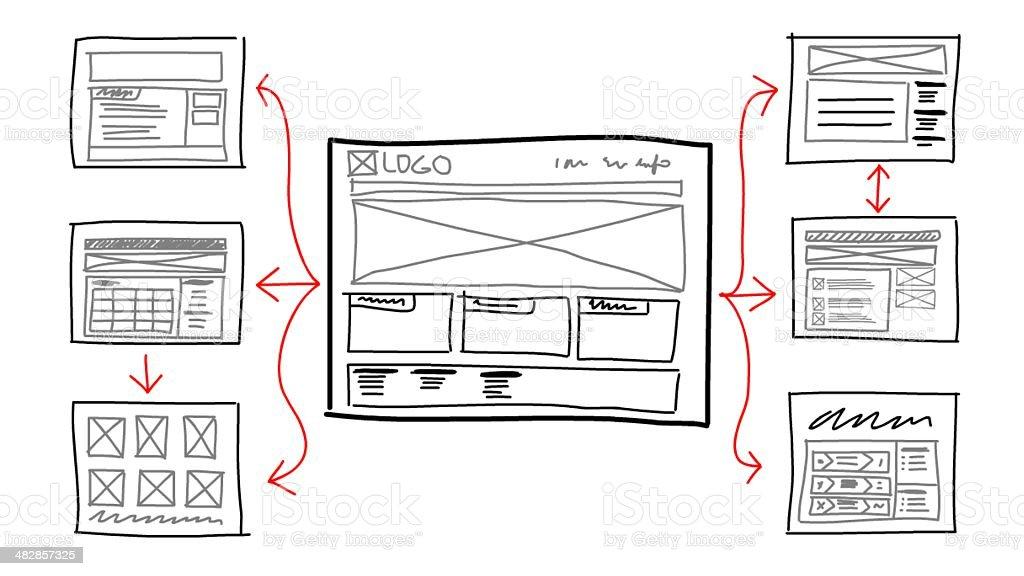 website sketch mockup stock photo