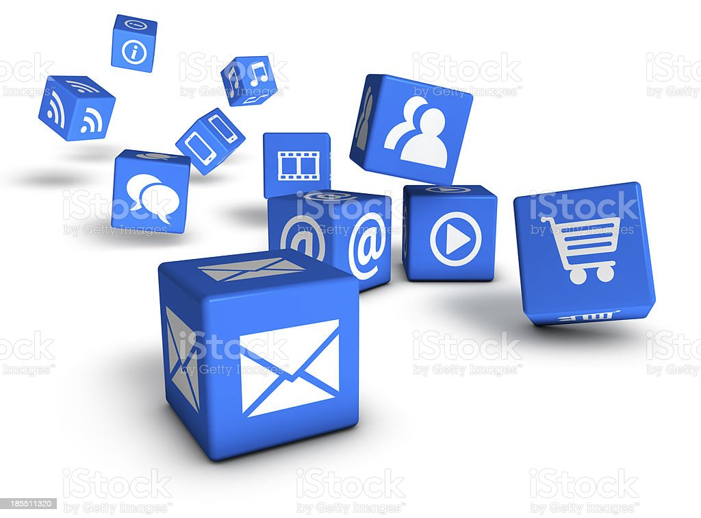 Website, social media, and internet icons on tumbling cubes royalty-free stock photo