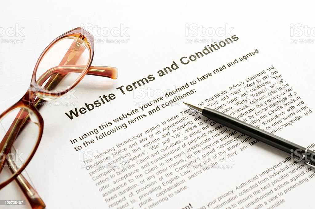 website terms and conditions stock photo