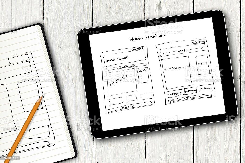 website wireframe sketch on digital tablet screen stock photo