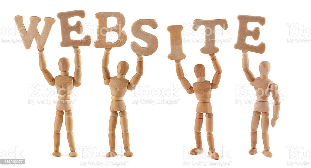 Website - wooden mannequin holding this word royalty-free stock photo