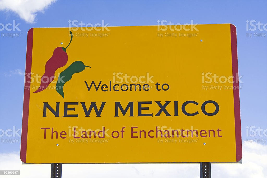 Wecome to New Mexico sign stock photo