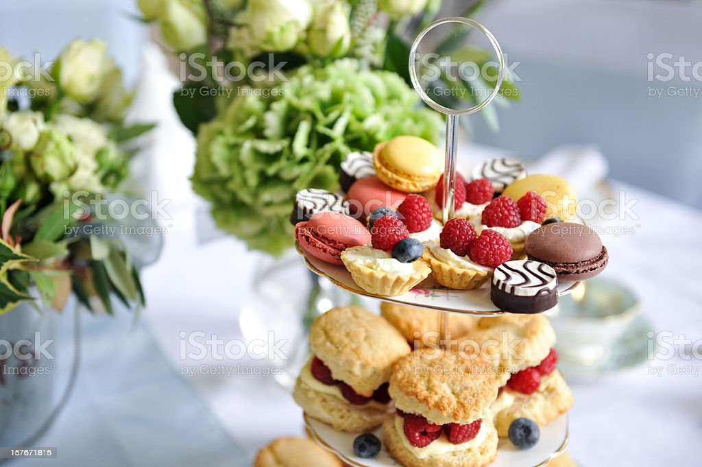 Wedding afternoon tea treats stock photo