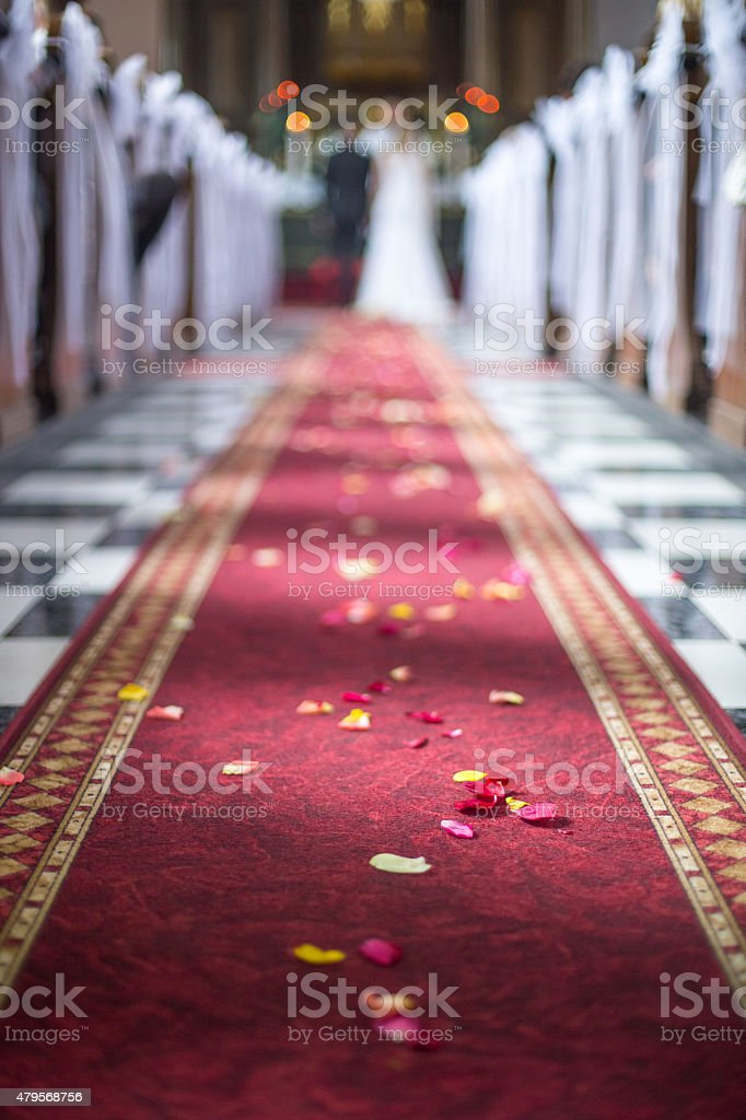 Wedding aisle with red carpet stock photo