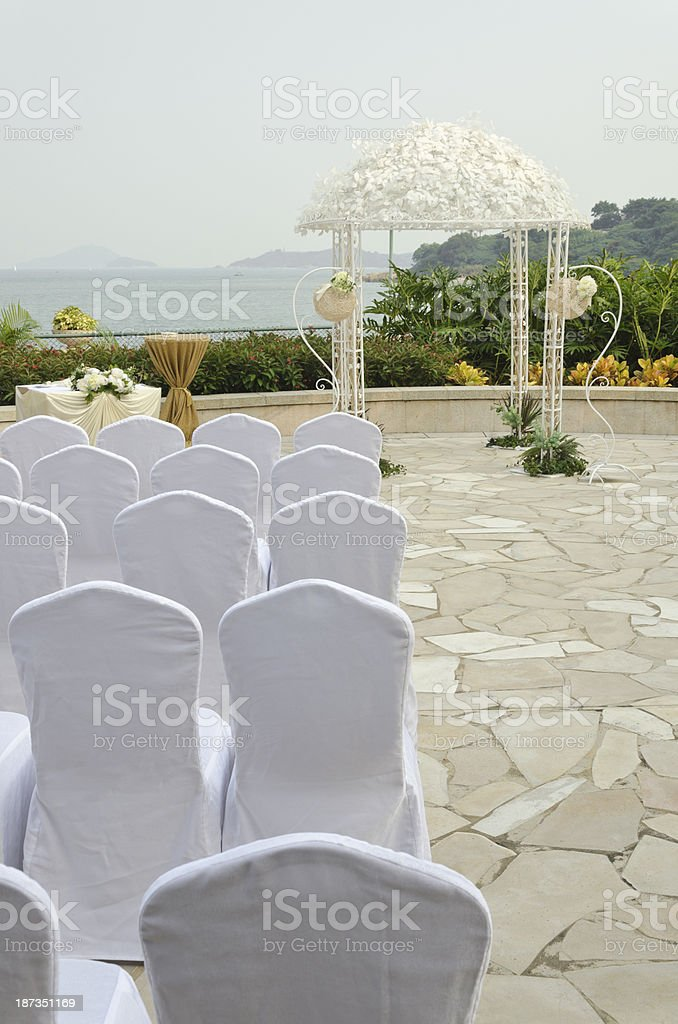 Wedding altar by the sea stock photo