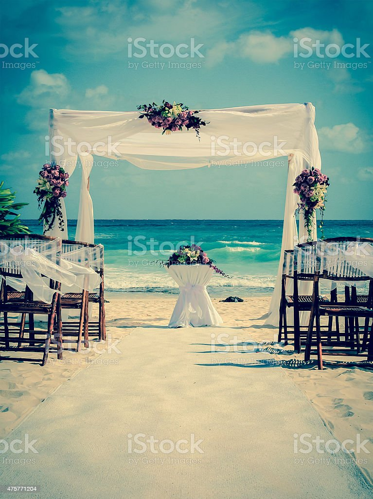 Wedding altar on the beach stock photo