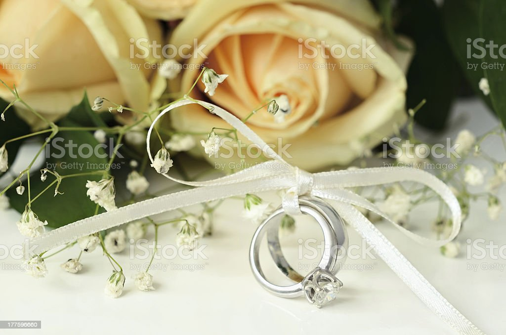 Wedding and engagement rings royalty-free stock photo