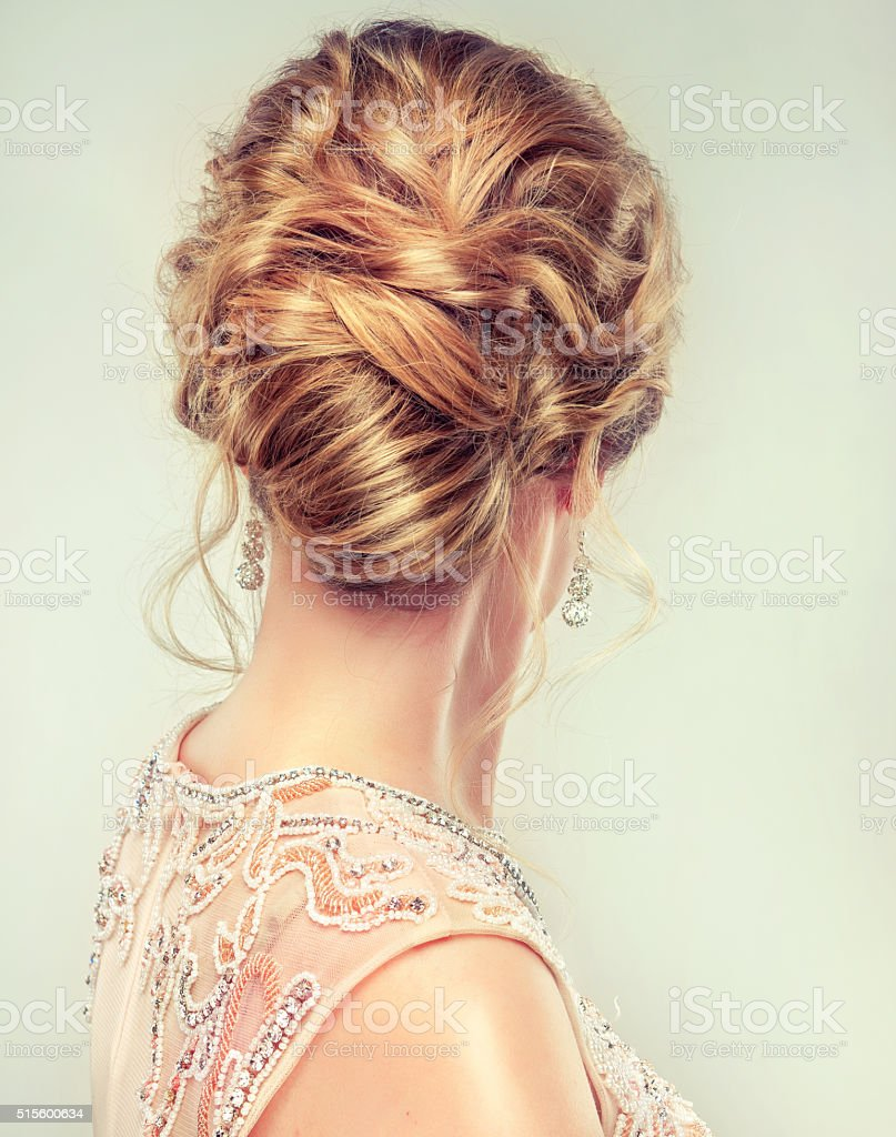 Wedding and evening hairstyle. stock photo