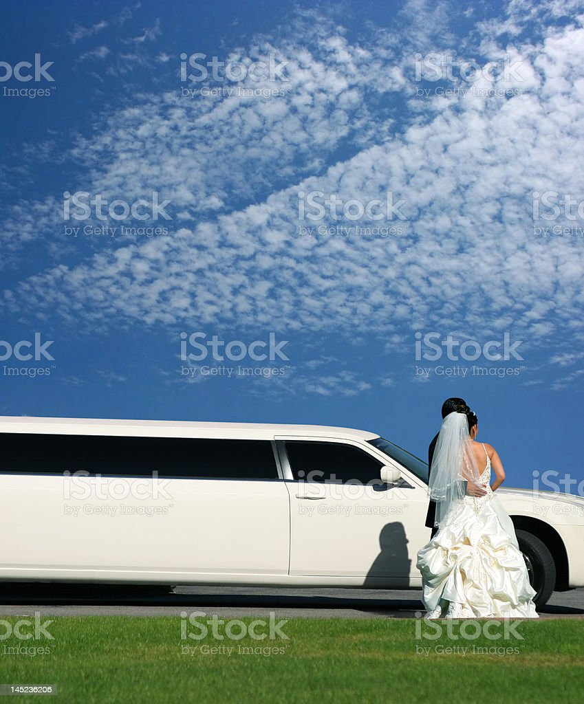 Wedding and limousine royalty-free stock photo