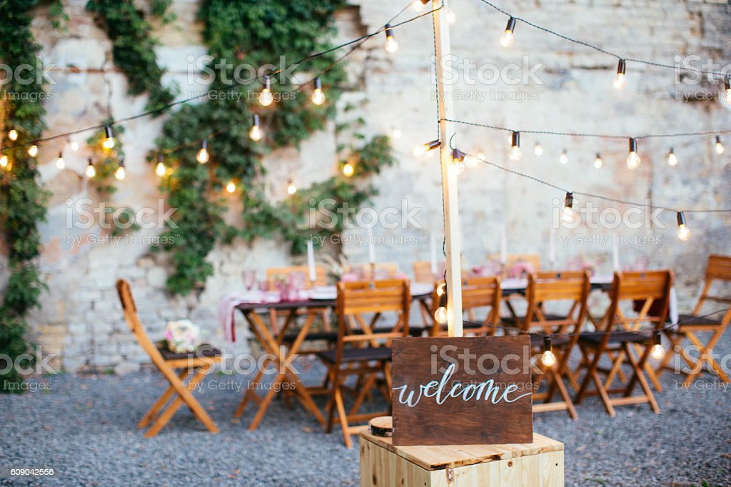Wedding and party place decoration stock photo