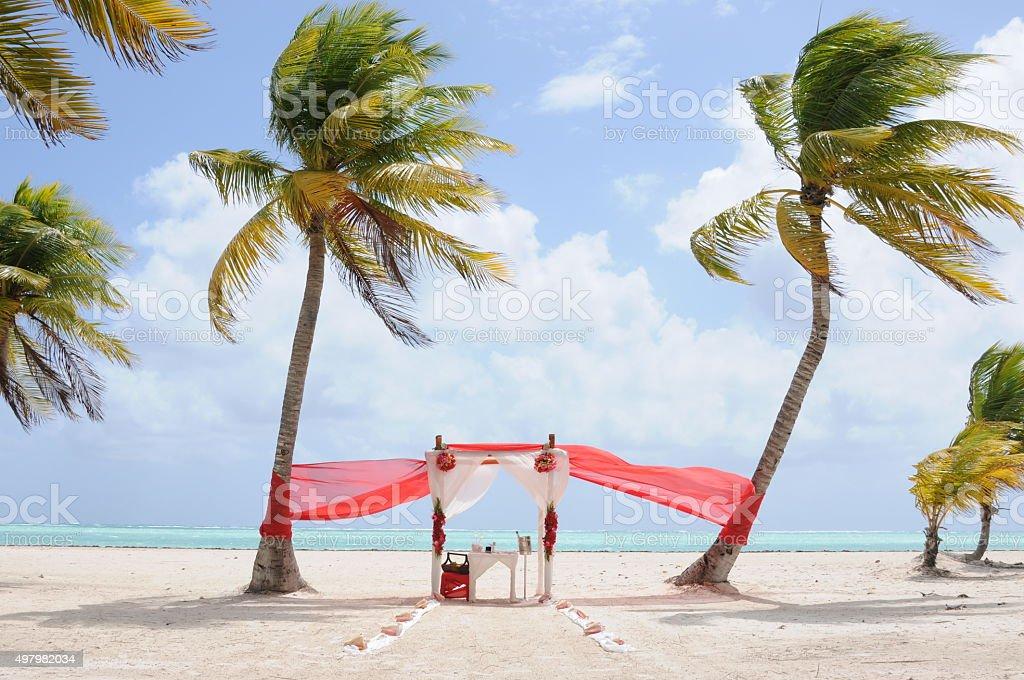 Wedding arch on the beach. stock photo