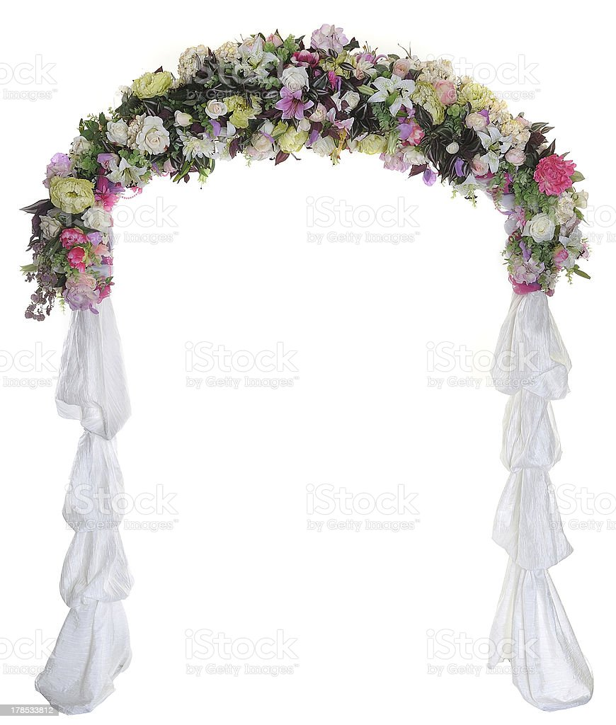 Wedding arch on white background stock photo