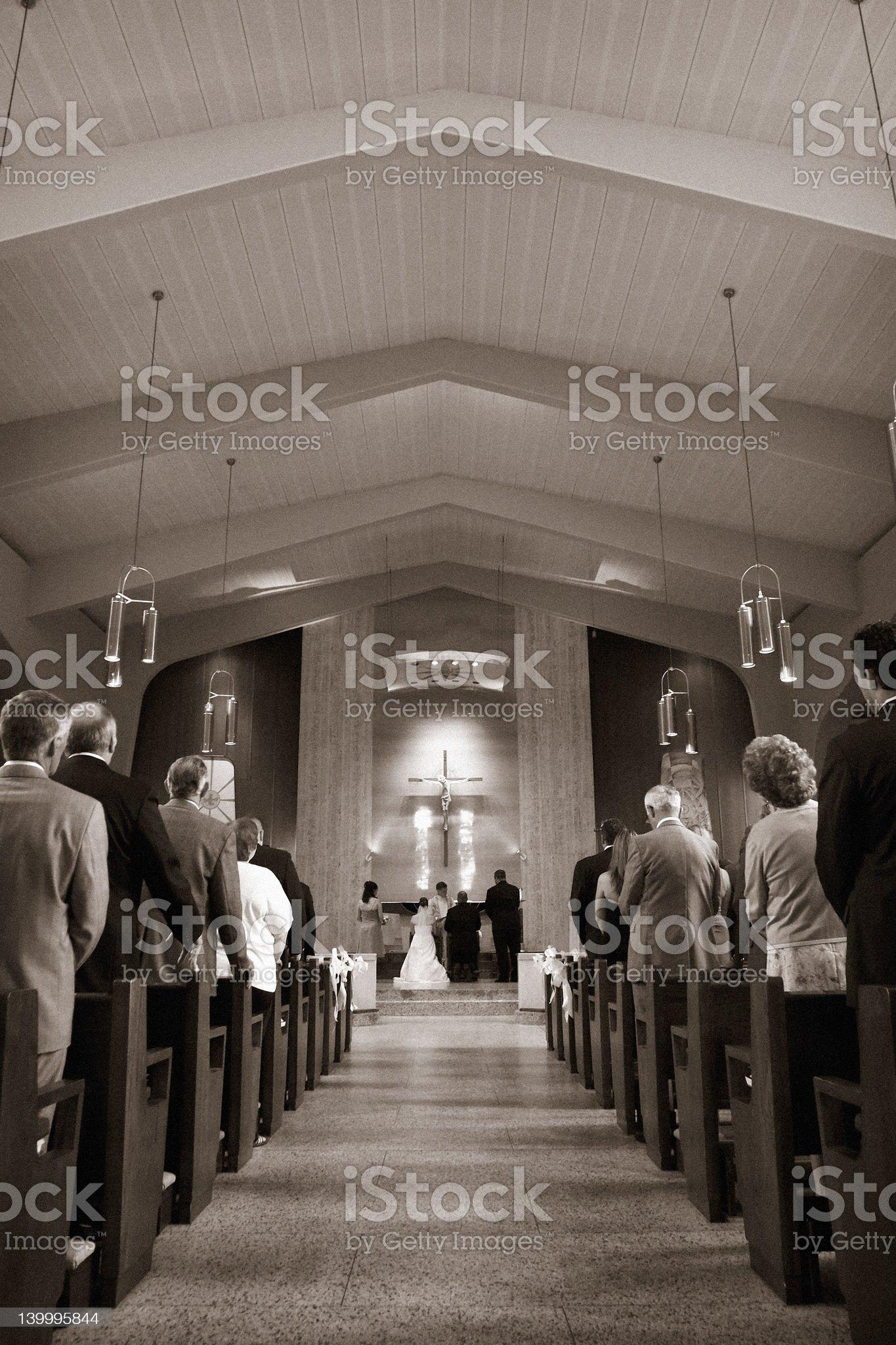 Wedding at a church royalty-free stock photo