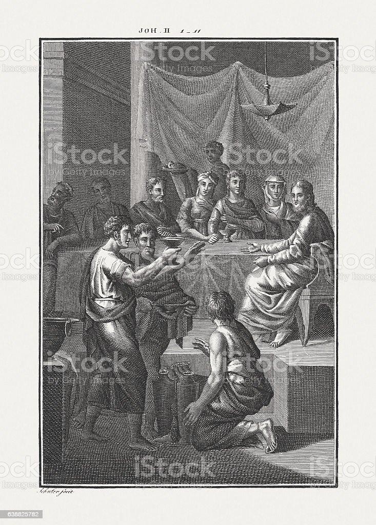 Wedding at Cana (John 2), copper engraving, published c. 1850 stock photo